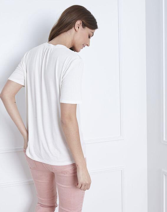 Witte blouse met vetersluiting aan de hals Viola (4) - Maison 123