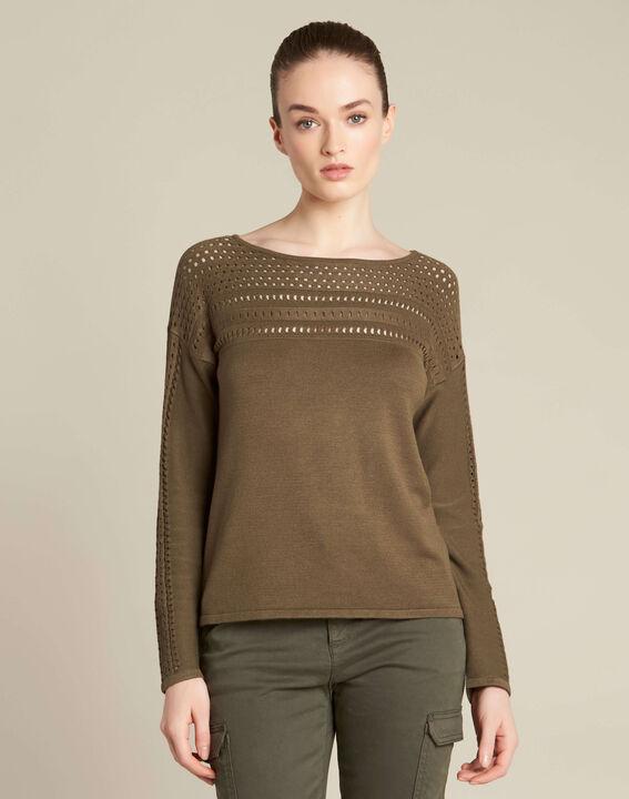 Khakifarbener Pullover mit Ajour-Details Nefle (3) - 1-2-3