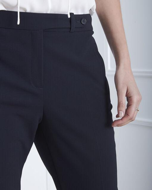 Pantalon marine droit en microfibre à ceinture boutonnée Hugo (2) - 1-2-3