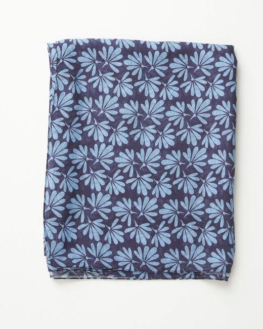 Foulard imprimé fleurs bleu Annick (1) - 1-2-3