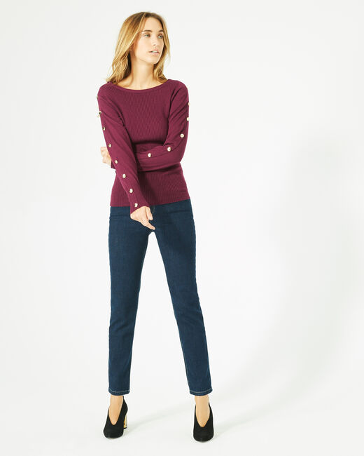 Philo woolen blackcurrant sweater with stylish sleeves (1) - 1-2-3