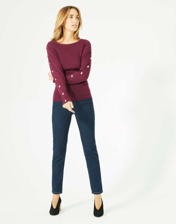 Philo woolen blackcurrant sweater with stylish sleeves PhotoZ | 1-2-3