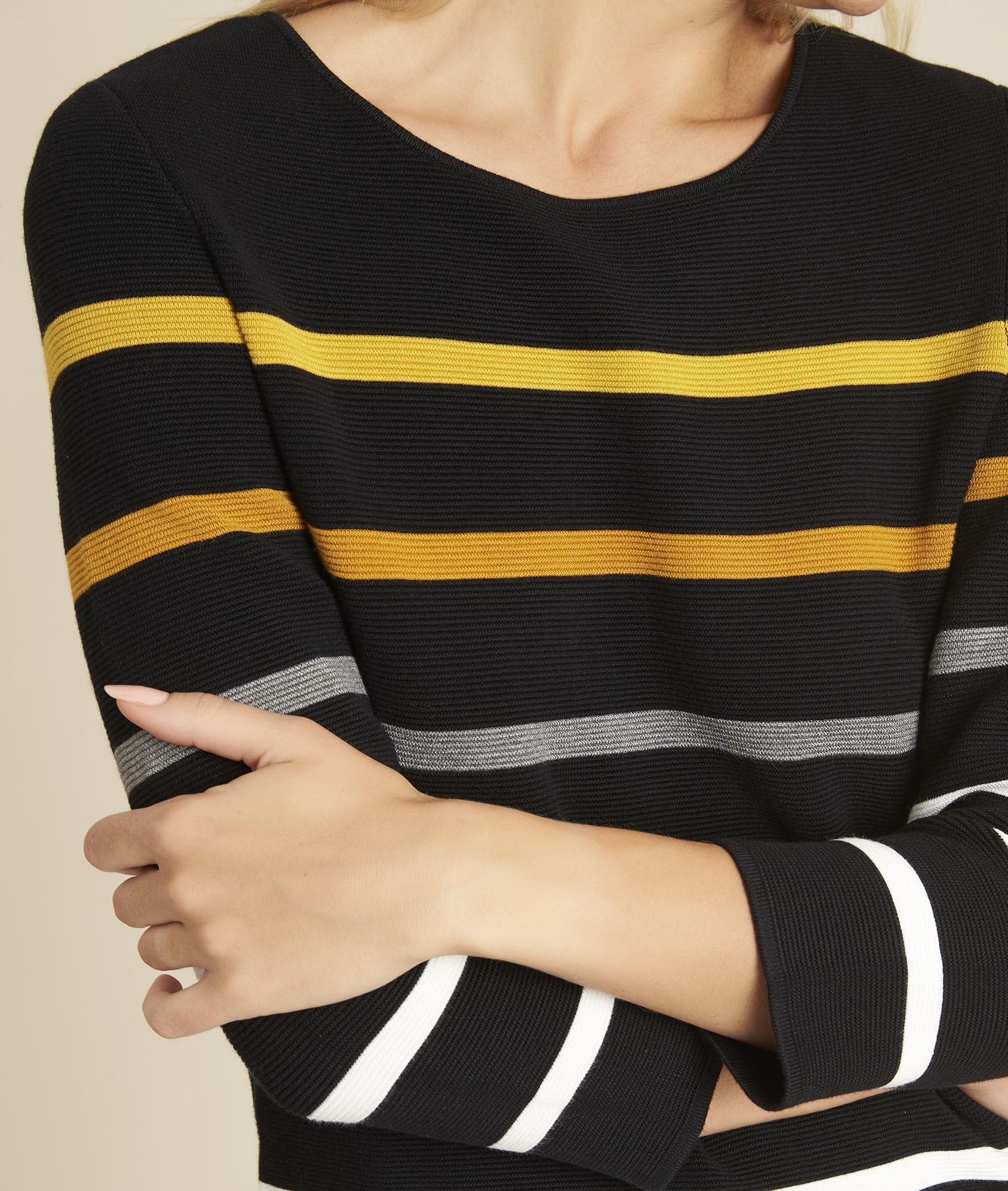 Berlingot Black Fine Knit Striped Sweater 123