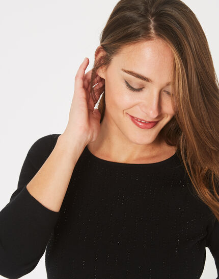 Pluie black sweater with diamante and round neck (3) - 1-2-3