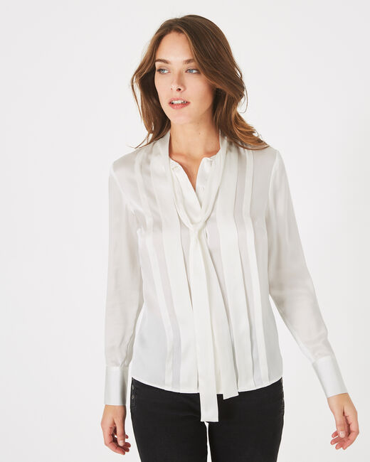 Diva off-white silk blouse with pussy bow (1) - 1-2-3