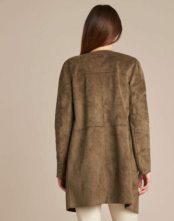 Manteau long kaki aspect peau lainée Fabiana (4) - 1-2-3