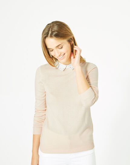 Pretty pale pink sweater with stylish neckline (1) - 1-2-3
