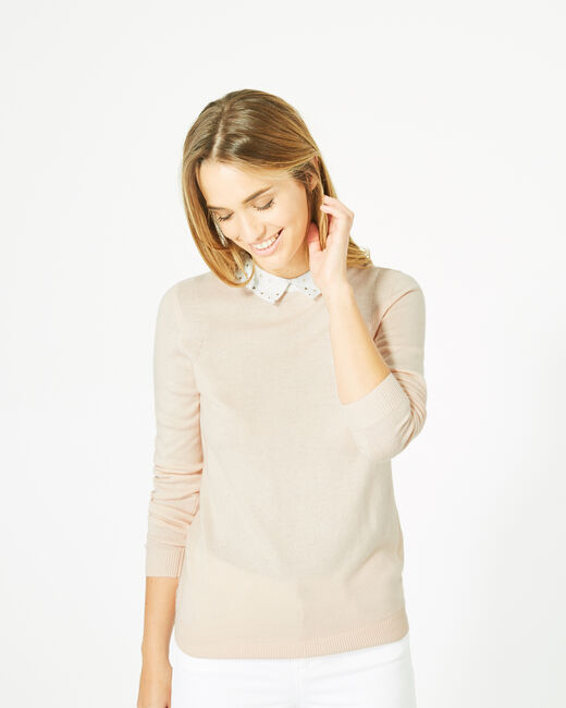 Pretty pale pink sweater with stylish neckline (2) - 1-2-3
