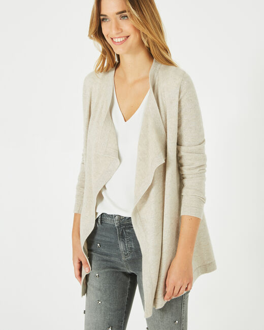 Pimprenelle beige, shiny cashmere waterfall cardigan (1) - 1-2-3