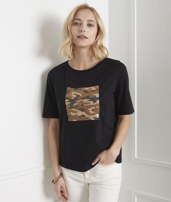 Schwarzes T-Shirt mit Druckmuster und Pailletten Paillote PhotoZ | 1-2-3