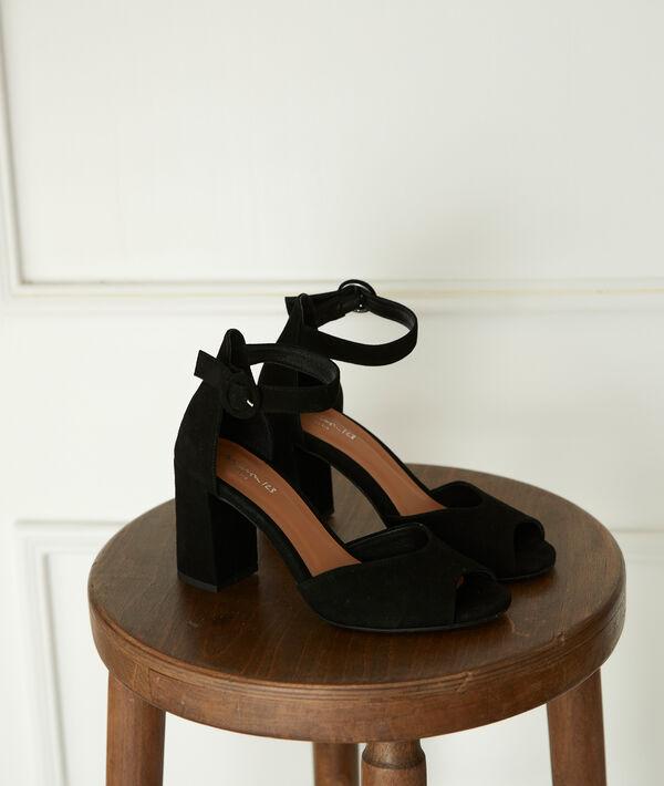Sandales noires à talons en cuir Jade PhotoZ | 1-2-3