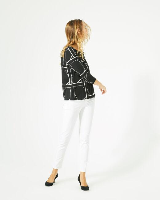 Tee-shirt noir imprimé graphique Losange (1) - 1-2-3