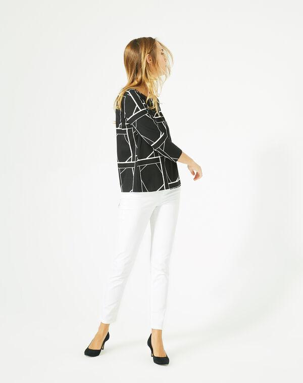 Tee-shirt noir imprimé graphique losange à