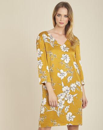 Gele jurk met bloemenprint en strik achteraan narma ocre.