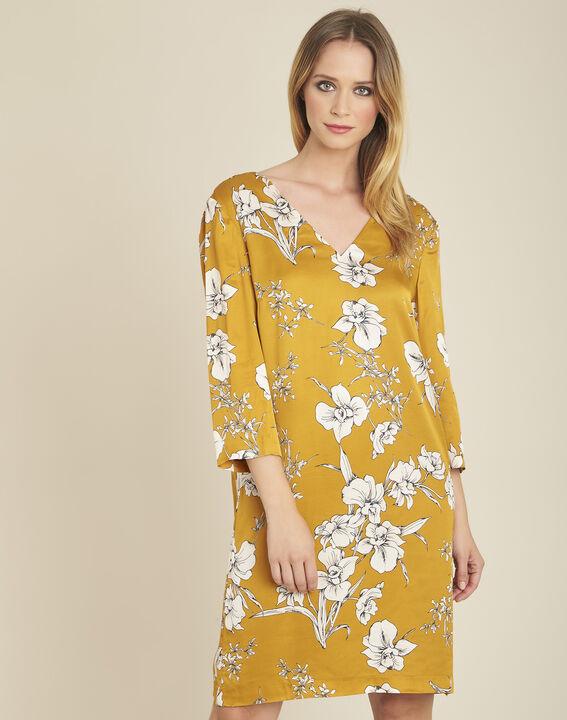 Gele jurk met bloemenprint en strik achteraan Narma PhotoZ | 1-2-3