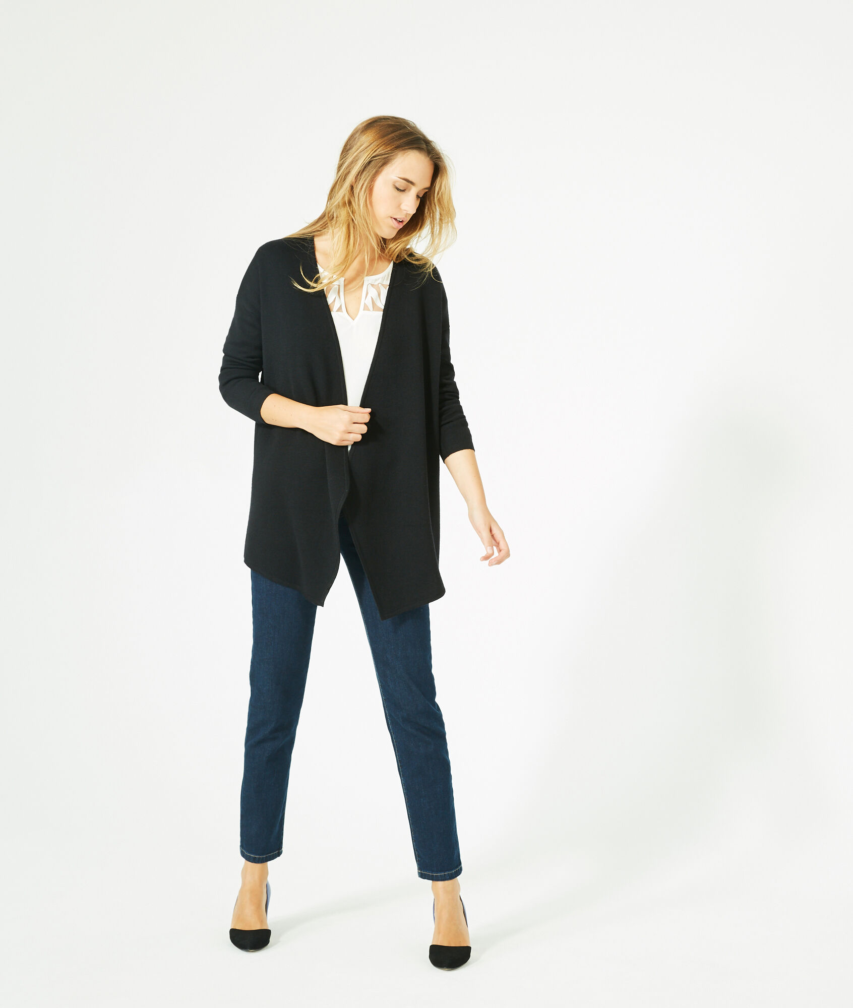Papyrus long, black, wool-blend cardigan jacket - 123