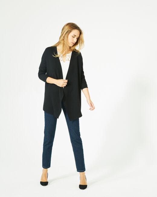 Gilet noir long façon veste en laine mélangée (1) - 1-2-3