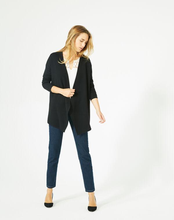 Gilet noir long façon veste en laine mélangée papyrus à