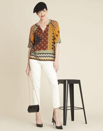 Blouse met etnische print en patchwork casbah soleil.
