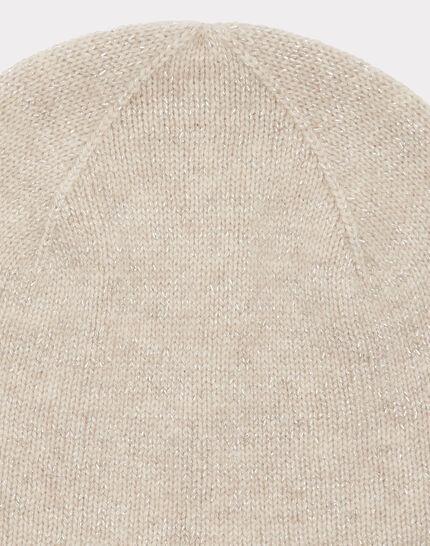 Beigefarbene glänzende Kaschmir-Mütze Tilleul bis (2) - 1-2-3