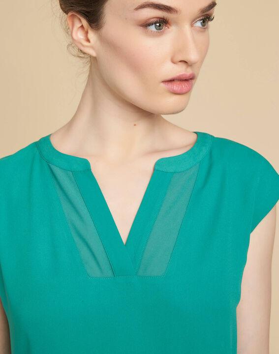 Blaues T-Shirt mit Netzstreifen am Ausschnitt Bianca PhotoZ | 1-2-3
