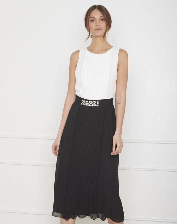 Robe noir & blanc plissée ceinture strass Isabella PhotoZ | 1-2-3