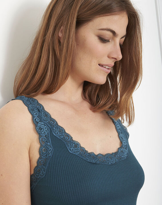 Guest green vest top in cotton and silk with lace neckline (4) - Maison 123