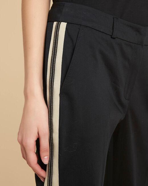 Pantalon slim noir à bandes coton 7/8 Francis (2) - 1-2-3