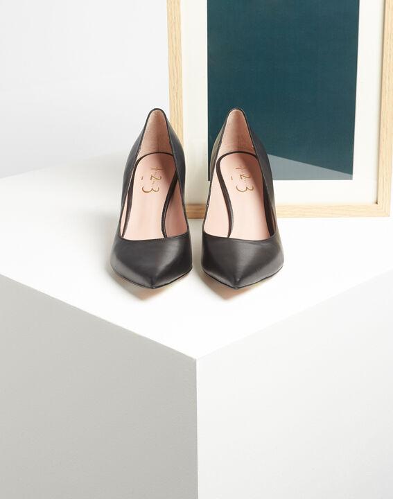 Kelly pointed black leather heels (2) - 1-2-3
