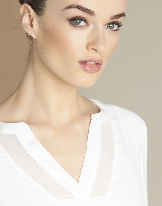 Ecru T-shirt uit twee materialen met hals van nettricot Bianca (3) - 37653