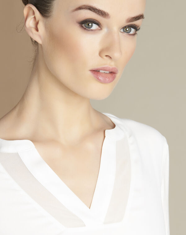Tee-shirt écru bimatière col résille Bianca (2) - 1-2-3