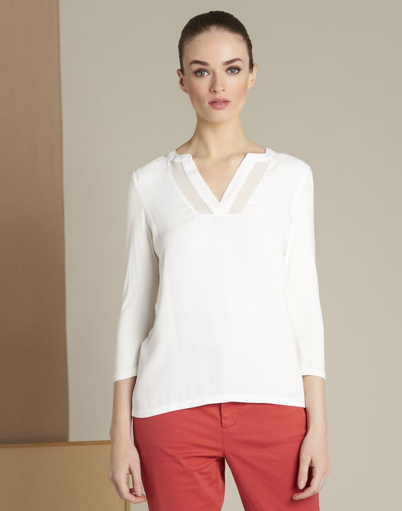 Ecrufarbenes T-Shirt im Materialmix mit Netzstreifen am Ausschnitt Bianca PhotoZ | 1-2-3