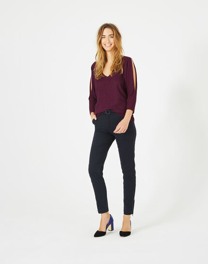 Kloe navy blue 7/8 length trousers (5) - 1-2-3
