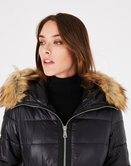 Louna long black puffer jacket with faux fur (3) - 1-2-3