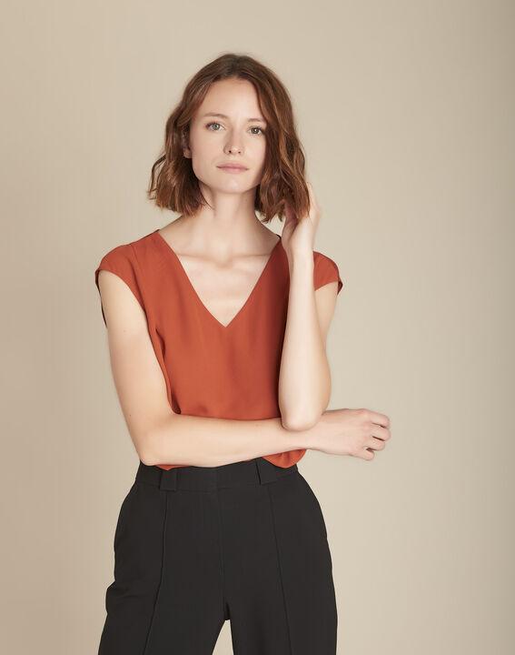 Terracotta blouse uit twee materialen Neptune PhotoZ | 1-2-3