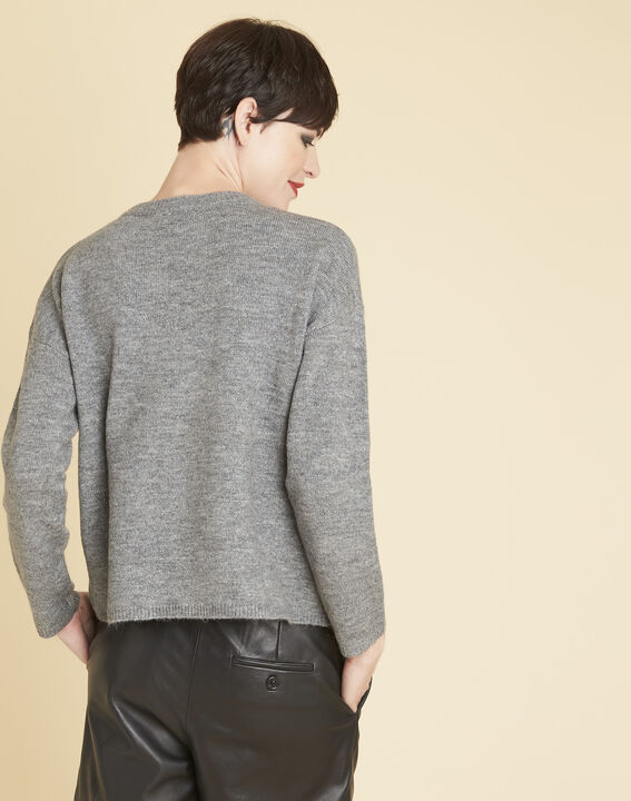 Bruyere grey sweater with floral print (4) - Maison 123