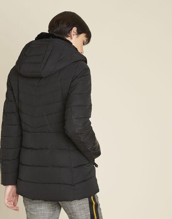 Doudoune noire faux cuir Phiby (4) - 1-2-3