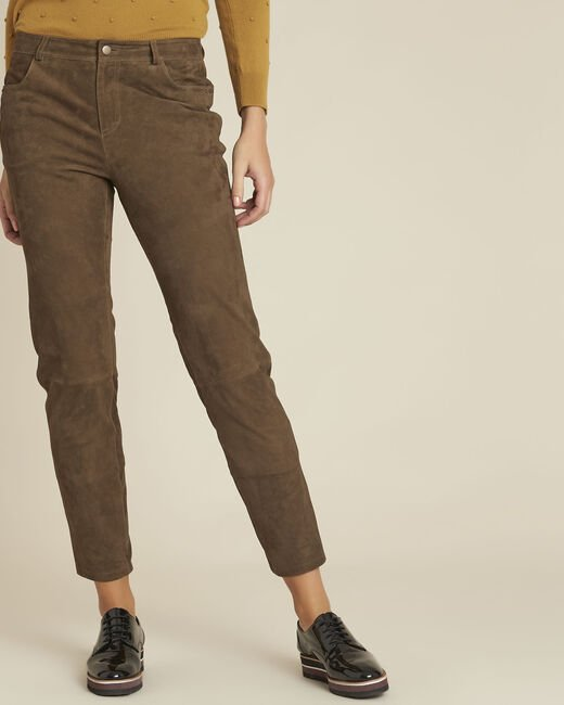 Pantalon kaki en cuir velours Houston (1) - 1-2-3