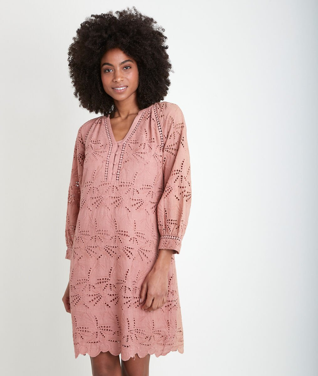 Robe en coton biologique brodée rose Coco PhotoZ | 1-2-3