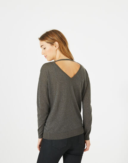 Phoenix shiny khaki sweater with open back (5) - 1-2-3
