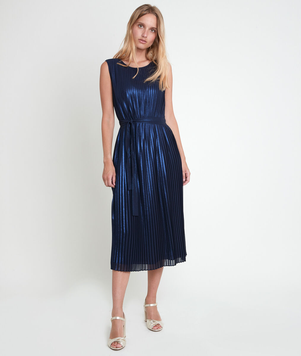 Plissiertes Kleid marineblau glänzend Marlène PhotoZ | 1-2-3