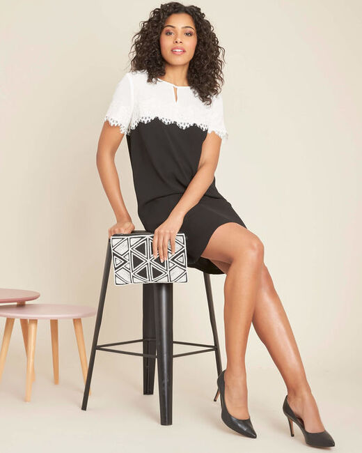Illona black and white dress with lace neckline (2) - 1-2-3