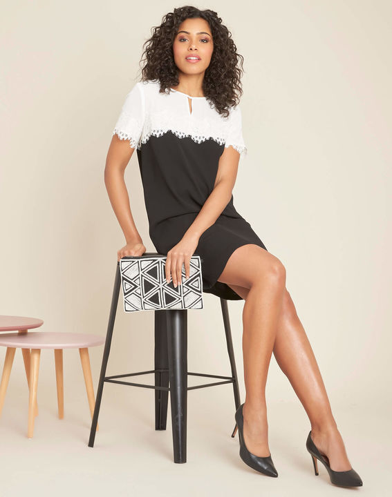 Illona black and white dress with lace neckline (3) - 1-2-3