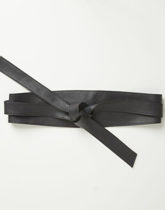 Ceinture large noire en cuir à nouer Raul (1) - Maison 123