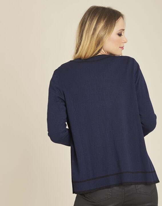 Zweifarbige marineblaue und schwarze Strickjacke mit Druckknöpfen Beauty (4) - 1-2-3