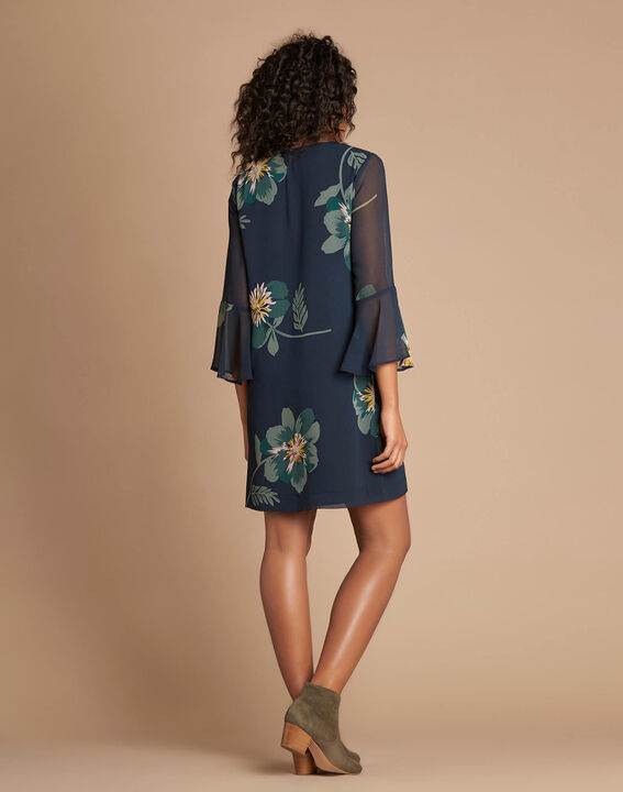 Waldgrünes Kleid mit Blumen-Print Astrid (3) - 1-2-3