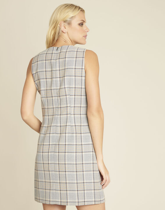 Dakar straight-cut check printed dress with buttons (4) - 1-2-3