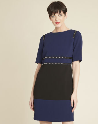 Doris two-tone navy dress with studded detailing navy.