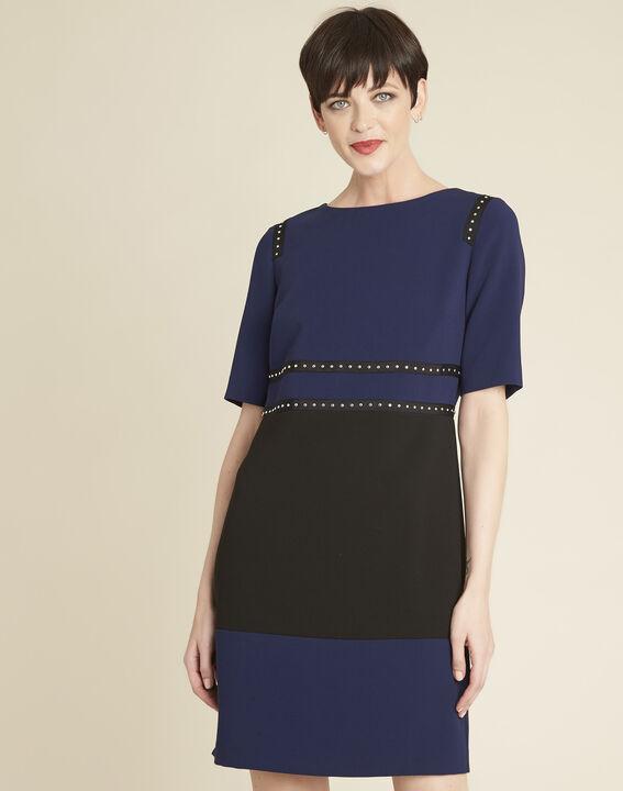 Doris two-tone navy dress with studded detailing PhotoZ | 1-2-3