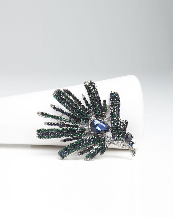 Xylo spike brooch with dark green stones (2) - 1-2-3